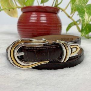 BRIGHTON Taper Ornament Belt Brown 32